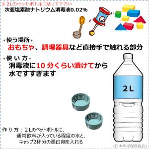 消毒液の作り方(0.02%消毒液)